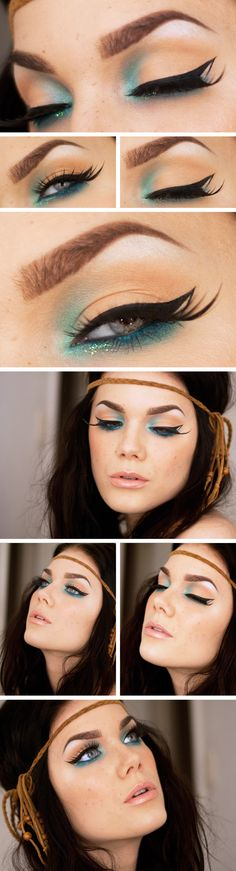 mermaid make up - putting the darkest color in the palette (aqua blue) at the inner corner of your eyes is usually against the law but this creates a mysterious majestic appearance that will make people look twice - for the good if it's done right...