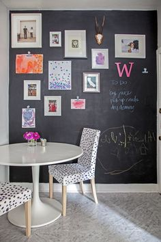 Love the idea of a chalkboard wall in a living area (the kitchen here). Great for display, notes and keeping kids occupied as well!  chalkboard wall inspiration, art wall collage, dining room inspiration, polka dot chairs
