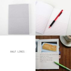 Half lined notebook via Poketo