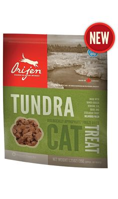Tundra Freeze Dried Cat Treat. Made with Venison, Elk, Steelhead Trout, and Quail - YUMMY!
