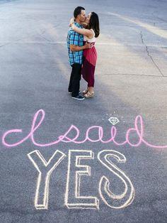 Clever Engagement Announcement Ideas: Sidewalk Chalk >> http://www.diynetwork.com/decorating/wedding-save-the-date-and-engagement-announcement-ideas/pictures/page-5.html?soc=pinterest