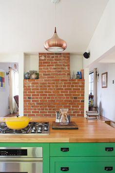 Green + Copper color combination in a California kitchen