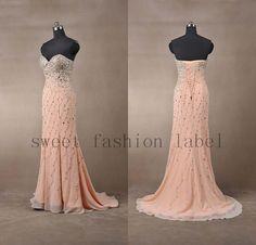 2014 pink chiffon dresses sweetheart prom by Sweetfashionlabel