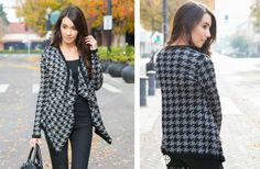 Houndstooth Open Sweater Cardigan - 2 Color Options! 48% off at Groopdealz