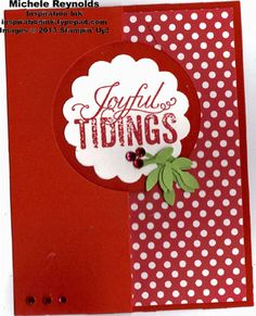 Handmade interactive flip Christmas card with Stampin' Up! Christmas Messages and Circle Card Thinlits Die.