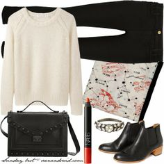 Casual outfit, black skinny jeans, cream sweater, ankle boots, weekend