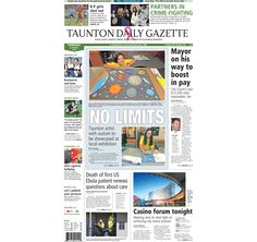 The front page of the Taunton Daily Gazette for Thursday, Oct. 9, 2014.