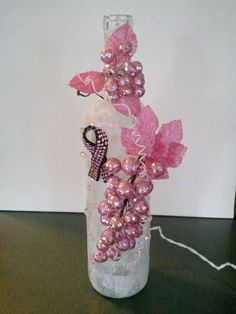 Breast Cancer Awareness Wine Bottle with Lights