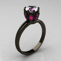 Classic 14K Black Gold Marquise Pink Sapphire 1.0 Carat White Sapphire Solitaire Ring R90-14KBGPSWS. $1,899.00, via Etsy.