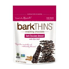 Have you purchased your #darkchocolate #almond bag yet? Now being FEATURED this month at ALL (US) #Costco clubs! #barkTHINS #snackingchocolate #nongmo #fairtrade