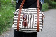 it's a cinch bag in stripes and leather // true bias