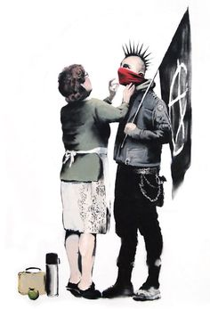 Banksy, street art. Banksy work usually has a political statement in a comical way.  I love his use of red that draws attention to the bandana.