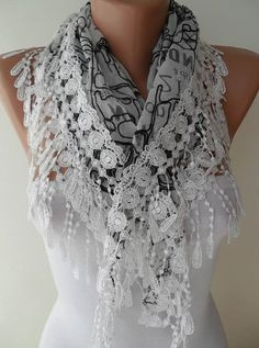 White and Black Scarf with White Trim Edge by SwedishShop on Etsy, $17.90