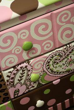 bedroom fun, little girl bedrooms, room furniture, painted furniture, diy crafts, paint furnitur, vibrant colors, dresser drawers, painted dressers