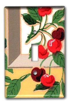 vintage wallpaper switch plate...cherries