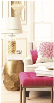 fuchsia & gold decor. Side Table. Ottoman. Sofa.