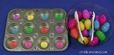 Muffin Tin Egg Match -  Pinned by @PediaStaff – Please Visit http://ht.ly/63sNt for all our pediatric therapy pins