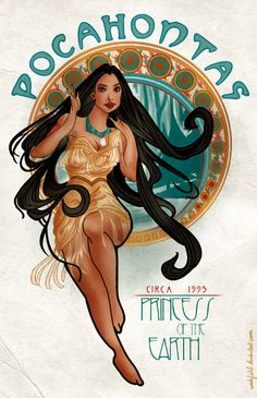 Art Nouveau Pocahontas    #disney #fanart #art #nouveau #pocahontas #princess #earth