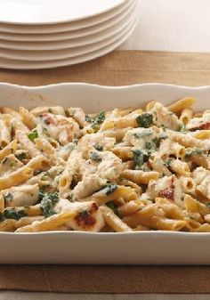 Chicken-Penne Florentine Bake – What's not to love? Chicken, spinach and two kinds of cheese are baked with multi-grain pasta for a totally satisfying—and better-for-you—take on an Italian favorite.