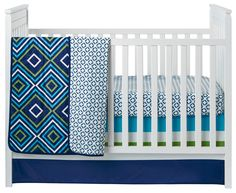 Modern, colorful crib bedding from Happy Chic Baby by Jonathan Adler - love the blue + green mix! @nojobedding