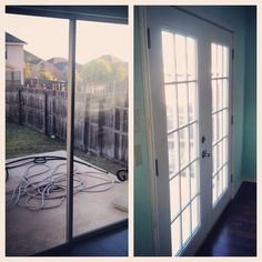 Before: Sliding glass door, After: French doors