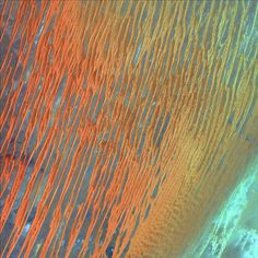 Ribbons of Saharan sand dunes seem to glow in sunset colours. These patterned stripes are part of Erg Chech, a desolate sand sea in southwestern Algeria, Africa, where the prevailing winds create an endlessly shifting collage of large, linear sand dunes. The term 'erg' is derived from an Arabic word for a field of sand dunes.