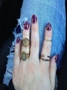 midi rings, ring finger, nail designs, nail arts, red nails, stiletto nails, long nails, gold accents, jewelry rings