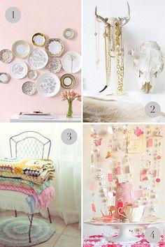 Plates on the wall, garlands, handmade blankets, wall decor