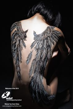 Welcome for the first time at the World Bodypainting Festival - official, Winnie Yue from China.  www.bodypainting-festival.com  #wbf #worldbodypainting #bodypainting #wings #feather