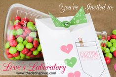 Have fun in Love's Laboratory with your sweetheart. www.TheDatingDivas.com #datenight #dateideas #freeprintable