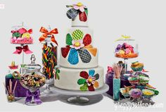 Colorful Patterned Daisy Flowers Tiered Cake