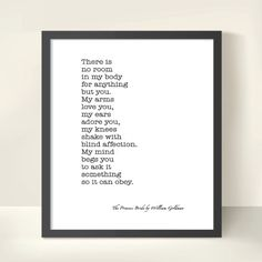 The Princess Bride by William Goldman. Literary Quote. Love Quote. Valentine's Day. Affection. Romance. Digital Download by OneFrameStories.