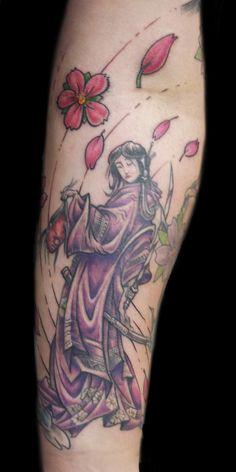 Tattoo on pinterest samurai tattoo samurai and female for Female samurai tattoo