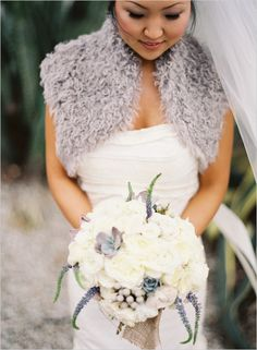 Winter Wedding Bridal Gown and Blue / Grey Shoulder Shawl