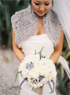 Winter Wedding Bridal Gown and Blue / Grey Shoulder Shawl