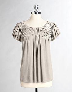 pleat neck, neck top, busi cloth, sleev pleat, cap sleev, work cloth