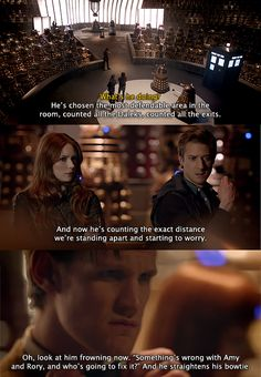 Really loved it when Amy pointed all this out. She knows him well. And realizes the inevitability of the Doctor fixing their relationship one way or another.