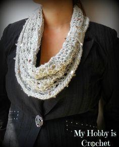Swanky Glam Cowl - Free Crochet Pattern: Written Instructions and Chart #freecrochetpattern #myhobbyiscrochet #crochetcowl