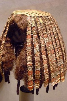 *WIG COVER DYNASTY: 18 reign of Thutmose III 1479-1425 BCE from the tomb of the three minor wives of Thutmose III gold gesso carnelian jasper glass (2) #Egypt #Egyptian #Ancient #Wig