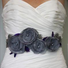 bridal sash, purple and grey