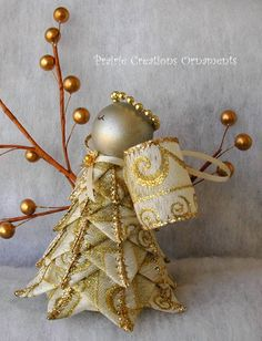 Angel Quilted Ornament Gold Swirls - Joy