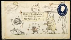 wild thing, envelope art, envelopes, mauric sendak, maurice sendak, children books, letters, illustr, mail art