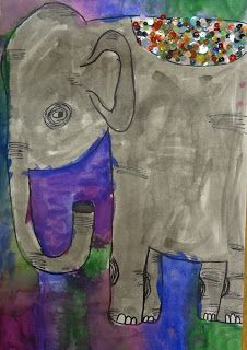 Art in the Big Green Room: 1st grade Elephants of India