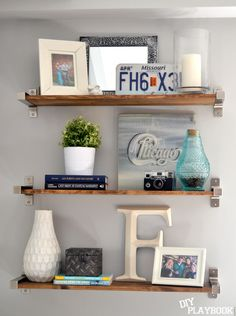 Group accessories by 3's & alternate heights to create stylish shelving! #HappybyDesign #sponsored