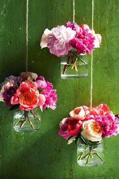 Hanging Mason jars and Flowers #xoominbloom #flowers