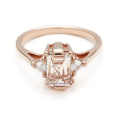 An engagement ring fit for a princess. #annasheffield #ring #engagement #quartz #diamond http://www.annasheffield.com/products/quartz-bea-engagement-ring