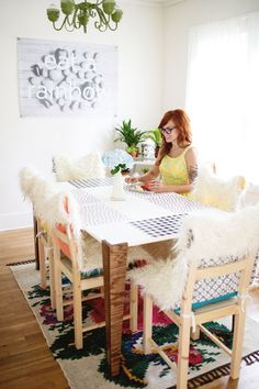 DIY: faux fur chair covers