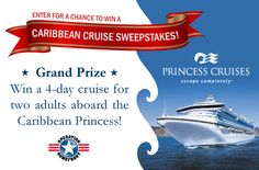 You could win a spot on board Princess Cruises 'Cruise for A Cause' Nov. 5-9. The cruise is created to honor men and women of the U.S. Armed Forces, with special military-themed events and entertainment onboard.