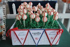 super cute baseball cake pops