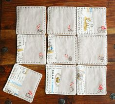 holy cuteness!!! love these coasters!  (lazydoll on etsy)